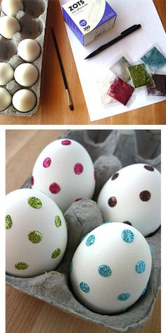 Use clear adhesive glue dots to make really easy polka-dotted glitter eggs. | 29 Insanely Easy Ways To Get Ready For Easter