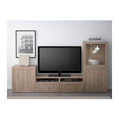 BESTÅ TV storage combination/glass doors - Hanviken/Sindvik gray stained walnut eff clear glass, drawer runner, push-open - IKEA