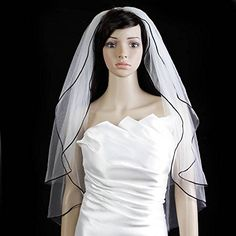 Bridal Wedding Veil Ivory 2 Tiers Fingertip Length 18in Black Satin Cord Edge ** To view further for this item, visit the image link.(This is an Amazon affiliate link and I receive a commission for the sales)