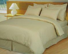 RT Beige Damask Stripe Down Alternative 4pc Comforter Egyptian 600TC - Quality House