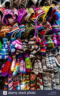 Woolen mittens and hats at a shop, Kathmandu