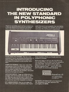 Roland Jupiter 4 released in 1978, à 4 voice synthesizer with presets and memories
