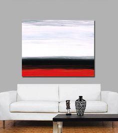 White Horizon Red Gray Black Abstract Landscape Art Painting Huge Big Large Canvas Sharon Cummings Modern Contemporary from BuyArtSharonCummings on Etsy. Contemporary Artwork, Modern Contemporary, Black Abstract, Abstract Art, Large Canvas, Abstract Landscape, Diy Painting, Art Prints, Red
