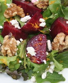 Scrumpdillyicious: Roasted Beet Salad with Goat Cheese & Walnuts