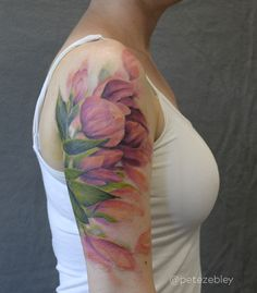 Tulip Cover Up Tattoo by Pete Zebley at Central Tattoo Studio