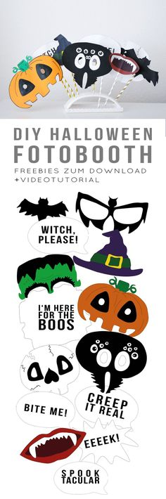 Amazing & FREE Printable Photo Booth Props For Halloween | School ...