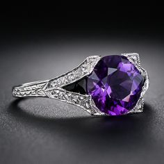 Art Deco Style Platinum Amethyst and Diamond Ring