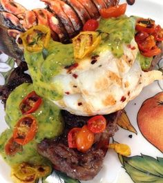 Mango Chimichurri Surf Turf Recipe. Lobster tails and organic grass fed ribeye steaks with a fruity mango chimichurri sauce with soba noodles.