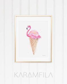 Flamingo Print Eis Fashion Illustration Sommermode Print Pool Party Mode Kunst Aquarell Mode Poster rosa Büro Wandtattoo