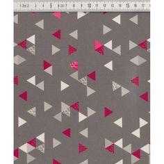 Impregnovaná látka  kočárkovina vzor - trojúhelníky růžovo šedé