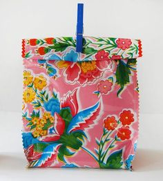 Pink Flowers Oilcloth Lunch Bag