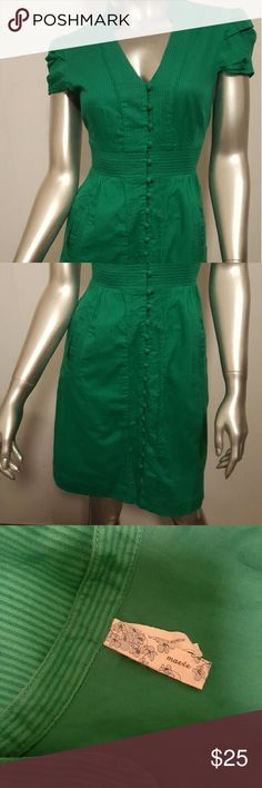 """MAEVE ANTHROPOLOGIE Secret Treasures Green Dress 2 Good pre-owned condition with a lot of wear left   Disguised front pockets   Trickling vertical stripes   Ruffled capped sleeves   Fully lined   Button through closure   Color- Kelly Green   Measurements- Chest =30""""Waist=26"""" Lenght =36""""  Feel free to contact me with any questions or concerns prior to purchase   Thank you for looking in my closet!  Kostkutter Anthropologie Dresses"""