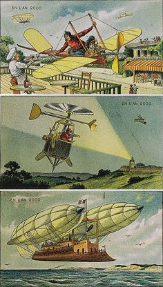 Villemard's vintage postcards also predicted helicopters patrolling the skies Big Brother style, as well as sea planes.  The latter came in the form of a large boat held aloft by two Zeppelin-style air balloons, but the principle is undeniable.