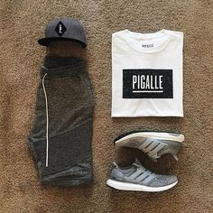 Ultraboost caged trackpants White tee. #pigalle #streetstyle #dope