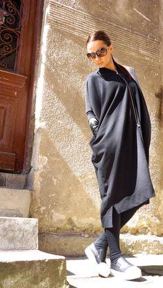 Nouveau superbe noir automne asymétrique fermeture éclair Caftan robe / Extravagant  Double face de fermetures à glissière avec poches taille  Vous