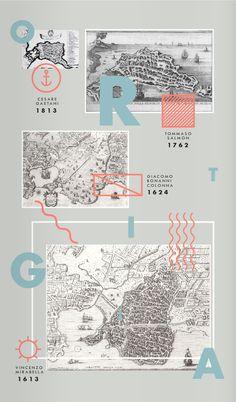 Illustrated map of Ortigia, Italy.