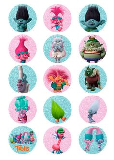 Trolls Birthday Party, Troll Party, 3rd Birthday Parties, 2nd Birthday, Bolo Trolls, Troll Cupcakes, Character Wallpaper, Bottle Cap Images, Cupcake Toppers