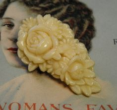 Vintage Dress Clip Carved Celluloid Japan by ohmymilky on Etsy,