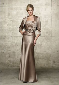 Strapless Satin A-line Floor-length With A Wrap And Sash Mother Of The Bride Dresses