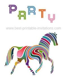 Free printable horse party invitations - brightly colored horse invite from www.best-printable-invitations.com