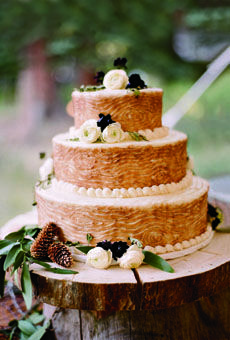 A faux-bois wedding cake; Photo by Carrie Patterson #rustic #weddings