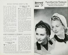 Pin-Up girls  'Two knitted Turbans'  Pattern for two turbans  Bestway Leaflet 986  1940s  Museum no. AAD 11/40-1990 to 11/64-1990