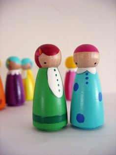 handmade  wooden peg dolls
