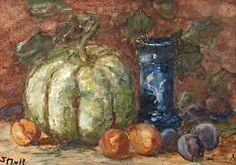 Sientje Mesdag van Houten (1834-1909) Stilleven met pompoen en vaas r.o. get. in initialen aquarel, 29x42 cm