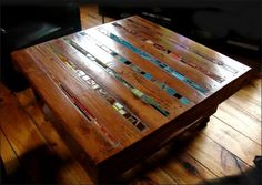 A coffee table made from recycled wood pallets. Instead of finishing their lives in garbages I've decided to recycle some of them for my appartment, and since I'm working with wood pallet to give them a new life. The pallets are cleaned, restored, finished with some ceramics or wine boxes. The p…