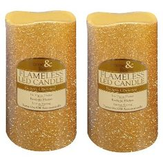 """3"""" X 6"""" Gold Glitter LED Candle - Set of 2 at target"""