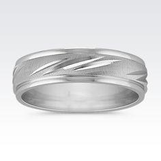 14k White Gold Engraved Band (6mm)
