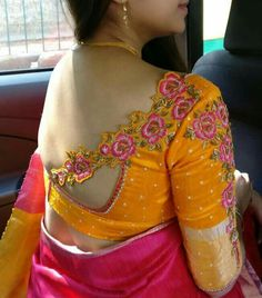 Single Side Work Blouses, Latest blouse designs, saree blouse designs - all of these are the current celebrity trends. Latest designs these days include single side work blouses. Saree Blouse Neck Designs, Stylish Blouse Design, Fancy Blouse Designs, Bridal Blouse Designs, Choli Designs, Back Neck Designs, Designer Blouse Patterns, Work Blouse, Scrappy Quilts