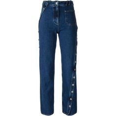 Courrèges Button Detail Girlfriend Straight Leg Jeans ($758) ❤ liked on Polyvore featuring jeans, blue, button-fly jeans, straight leg jeans and blue jeans