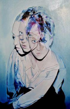 Artist: Adele Kava {contemporary figurative #expressionist triple exposure female head seated woman torso cropped painting} menteurmenteur.tumblr.com
