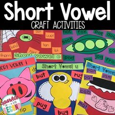 Short Vowel Craft Activities- Seriously could these be any cuter? Reading Resources, Teacher Resources, Teacher Tools, Short Vowel Sounds, First Day Of School Activities, Short Vowels, Readers Workshop, Elementary Teacher, Student Learning