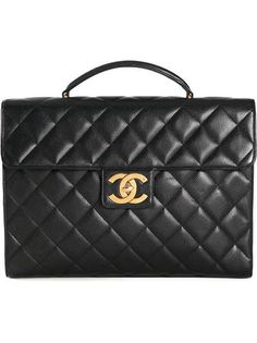 CHANEL VINTAGE quilted briefcase #accessories #chanel  #workday #men #designer #covetme #chanelvintage
