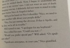 SOLANGELO The trials of Apollo - When I read this I basically squealed! Still can't stop smiling!!! So freaking happy!!!
