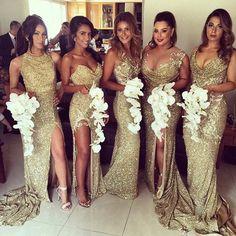Gold Sequin Mismatch Bridesmaid Dresses + White Orchid Bouquets