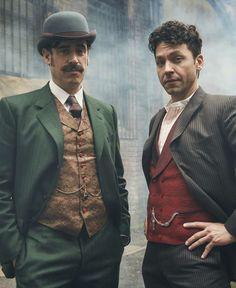 Stephen Mangan (left) appears as Sir Arthur Conan Doyle in the drama, and Michael Weston plays Harry Houdini. / ROBERT VIGLASKY