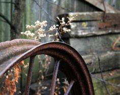 Antique Wheel Photo - country, rusty, wagon, rustic farmhouse old wagon wheel