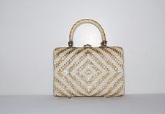 Vintage White with Gold Handbag by CheekyVintageCloset on Etsy, $34.00