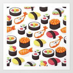 Sushi+Pattern+Art+Print+by+totallyjamie+-+$14.56
