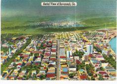 Savannah-Aerial-View-Linen-1950-Unused-GA