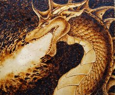 pyrography of trees | Burned Dragon by AnterionB