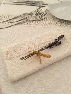 Servet din bumbac cu dantela lucrata manual si buchetel din lavanda - Laced cotton napkin, handmade, with a lavander detail Lavander, Cotton Napkins, Detail, Handmade, Jewelry, Fashion, Moda, Hand Made, Jewlery