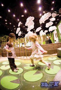 Where can the interactive floor projection for kids and live systems be used