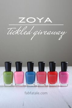 I'm giving away the entire Zoya Tickled collection at http://www.fabfatale.com/2014/05/manicure-mondays-zoya-tickled-giveaway/ #nailpolish #giveaway #zoya