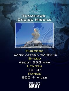 Did you know #USNavy's Tomahawk missiles have 800+ miles of range? Now you know!