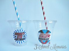 Set of 24 American Ninja Warrior Party Cups Lids by 3SweetMemories