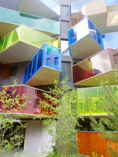 Impressive to see how different colours of glass can truly lighten up these balconies and the entire house.